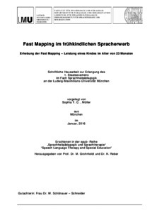 Fast Mapping im frühkindlichen Spracherwerb, Fast Mapping in early ...